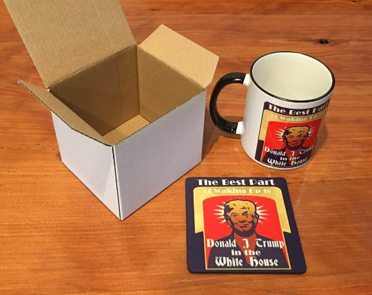 Donald Trump in the White House Mug and coaster set
